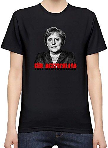 Angela-Merkel-Portrait-Kurzarm-T-Shirt-fr-Frauen