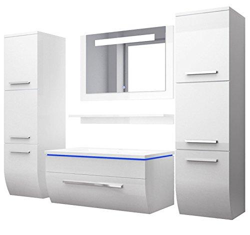Badmbelset-Badezimmermbel-Komplett-Set-Waschbeckenschrank-mit-Waschtisch-Spiegel-2-hochschrnke-mit-LED-Hochglanz-Fronten-wei-70-cm-Vormontiert-Homeline1