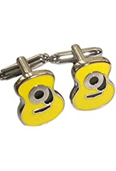 Acoustic Guitar Cufflinks - Yellow - Music Theme - Gift for Musician