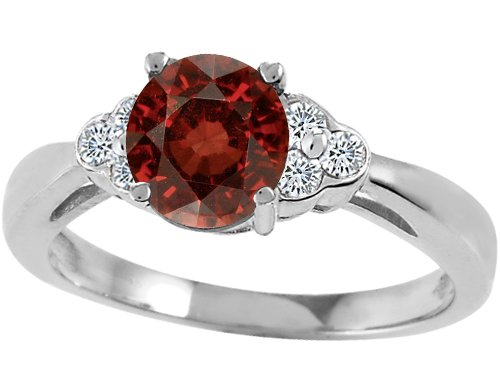 Tommaso Design(tm) Genuine Garnet and Diamond Engagement Ring