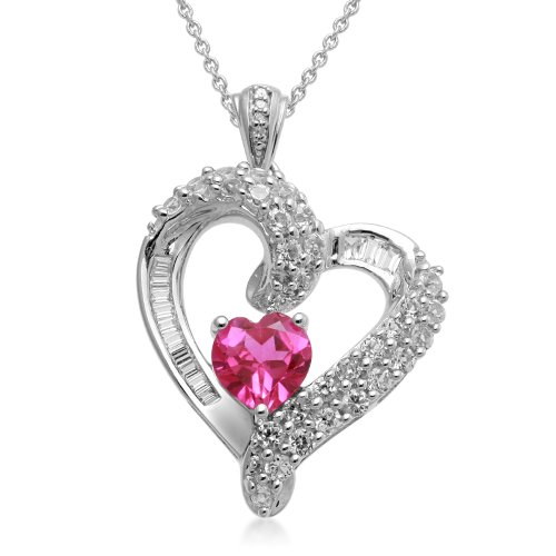 Sterling Silver and Heart Created Pink Sapphire with Baguette and Round Created White Sapphire Diamond Heart Pendant Necklace, 18