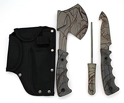 Snake Eye Tactical Heavy Duty 4PC Big Game Hunting Knife Set Grey Camo Camping Fishing