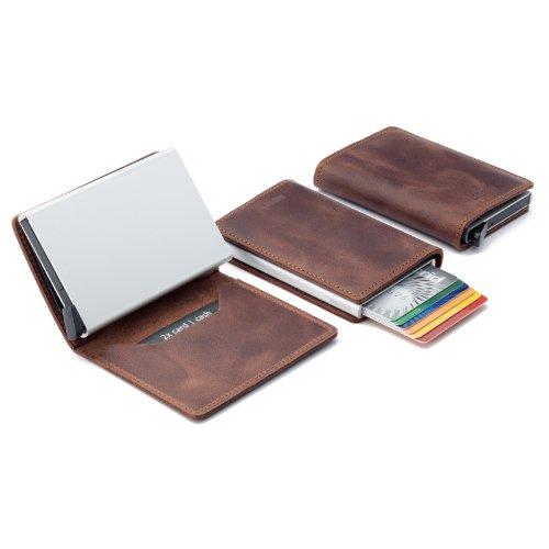 01. Secrid Men Slim Wallet Genuine Leather Vintage RFID Safe Card Case for max 12 cards