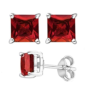 Color Gem Birthstone 925 Sterling Silver 2.00 Carat Cubic Zirconia 6 by 6 Princess Square Stud Earrings. from U.S.A