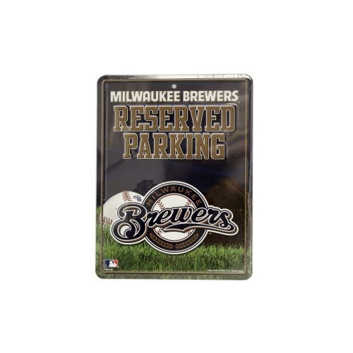 MLB Metal Parking Sign ( Color:Milwaukee Brewers) by Rico (Milwaukee Brewers Cycling compare prices)