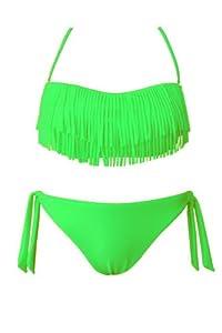 Bandeau Bikini mit Fransen Badeanzug Bathing Suit Neon Slip Maillot Sexy iBK13, Präzise Farbe:Neongrün;Größe:EU/D 38
