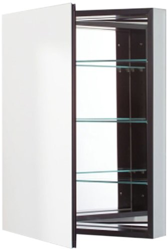 Robern Cb-Plm2430Bre Pl-Series Right-Side Flat Mirror Medicine Cabinet With Outlet, Black