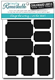 Simply Remarkable Reusable Chalk Labels - 30 Ticket Shape Adhesive Chalkboard Stickers in 3 Sizes, Light Material with Removable Adhesive and Smooth Writing Surface. Can be Wiped Clean and Reused, For Organizing, Decorating, Crafts, Personalized Hostess G
