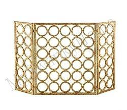 Gold Circles Iron Nailhead Fireplace Screen from Intelligent Design