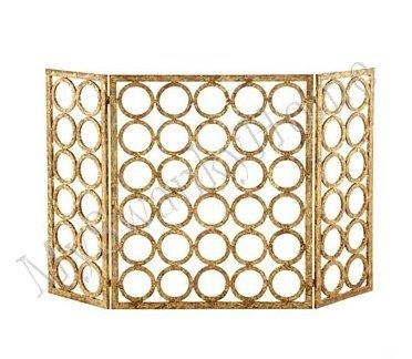 Gold Circles Iron Nailhead Fireplace Screen