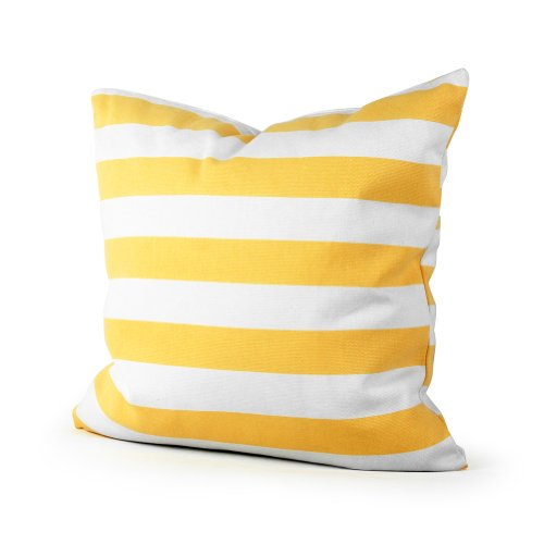 Lavievert Decorative Canvas Square Throw Pillow Cover Cushion Case Sharp Yellow Stripe Toss Pillowcase with Hidden Zipper Closure 20 X 20 Inches (For Living Room, Sofa, Etc)