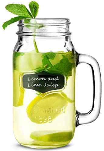 Circleware Yorkshire Mason Jar Mug Glass Cup with Fun Chalkboard and Glass Handle, 2 Pieces of Chalk Included, 1 Single Mug, 32 Ounce, Limited Edition Glassware Drinking Glasses/cups (Water Pitcher Glass 2 Gallon compare prices)