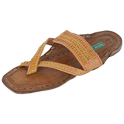 Marc MARC ONE Ethnic Brown Leather Kolhapuri Sandal For Men