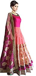 Pramukh group Women Net & Georgette Embroidered Semi - Stitched Pink Color Lehenga Suit & Dupatta