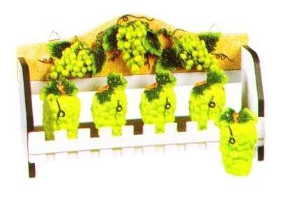 GREEN GRAPES 3-D Wood Spice Rack & 5 Jars Set Grape *NEW!*