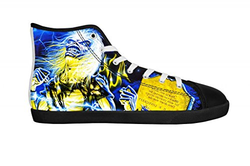 Rock Band Iron Maiden Men's Canvas Shoes Men Black High Top Canvas Shoes-7M US