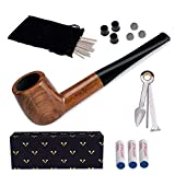 Tobacco Pipe Set, Free Boy Handmade Wooden Straight Stem Smoking Pipe with Accessories (Filter Elements, Filter Balls, 3 in 1 Scraper, Pipe Cleaners, Pipe Tip Grips, Bag, Gift Box) (Color: C, Tamaño: Straight)