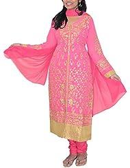 Dream Girls Boutique Women's Georgette Salwar Suit (Pink, XL)