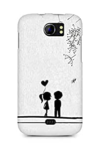 Amez designer printed 3d premium high quality back case cover for Micromax Canvas 2 A110 (Cute Sweet Love Little Couple)