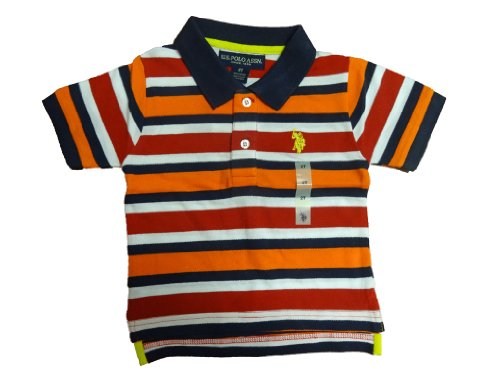 U.S. Polo Assn. Little Boys' Short Sleeve Stripe Cotton Pique Polo With Small Pony, Summer Orange, 3T