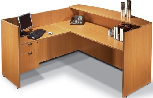 Offices to Go SL7130RDS L Shaped Reception Desk American Mahogany