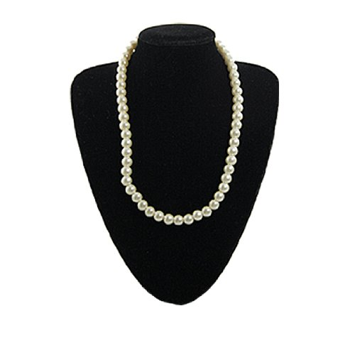 Rosallini Ladies Manmade Faux Pearl Princess Necklace White w Plastic Screw Clasp