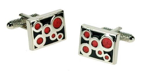 Men's Designer Stainless Steel Formal Cufflinks with a Black & Red Enamel