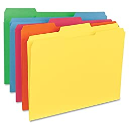 Sparco File Folder, Letter, 11 Point, 1/3-Inch Expansion, 100 per Box, Assorted (SPRSP21274)