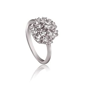 Fashion Plaza 18k White Gold Plated Use Swarovski Multi-Crystal Engagement Spark Ring R48 (4)