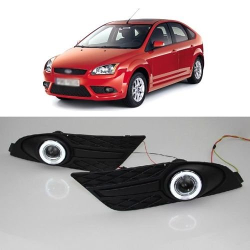 Auptech Innovative Super Ccfl Technology Angel Eye Fog Light Drl Exact-Fit Fog Bumper Cover With Projector Lens For 2007 Ford Focus