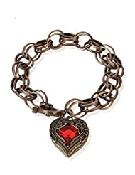 Cinderella Collection By Shining Diva Red Stone Antique Gold Heart Bracelet