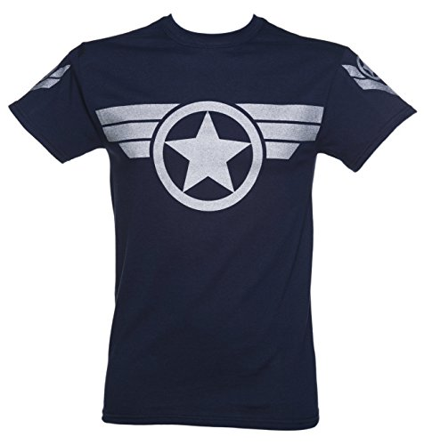 Mens Navy Metallic Silver Print Steve Rogers Super Soldier Captain America Unifo