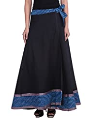 MSONS Women's Black With Blue Printed Long Wraparound Rapron Skirt In Cotton Fabric - Free Size