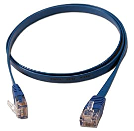QVS 50ft Flat CAT6 Gigabit Stranded Molded Blue Patch Cord