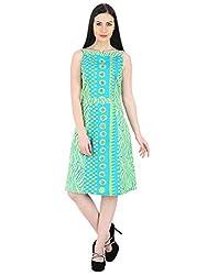 Woodin Boat Neck Graphic Print Medium Length Dress for Women