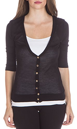 ragstock-womens-3-4-sleeve-button-up-v-neck-cardigan-black-small