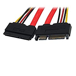 CNCT SLIM SATA CABLE 15+7 Extension 0.45M - Suitable for use with HDD and peripherals from WD - Seagate - Toshiba - Hitachi - Lacie
