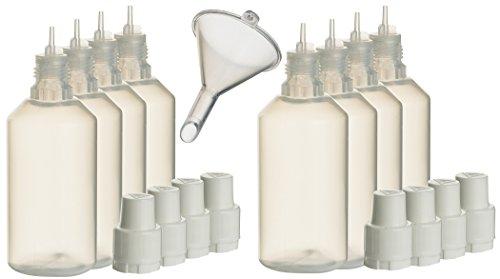8 Stück 50ml Liquidflaschen incl. 1x Füll-Trichter – SmokerFuchs® – Leerflaschen je 50 ml zum befüllen und mischen von E-Liquid für elektrische Zigaretten