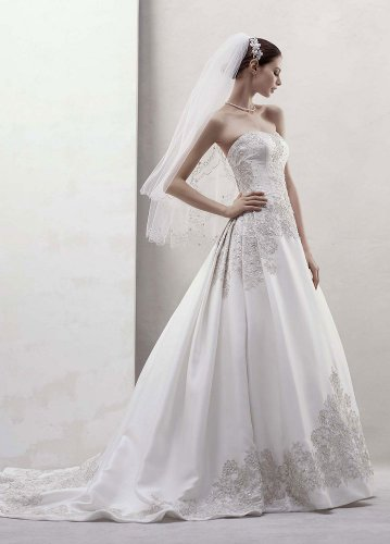 David's Bridal Wedding Dress: Mikado Ball Gown with Beaded Appliques Style CWG436