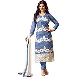 Latest Wize Blue Straight Cut Chanderi Embroidered Dress Material with Chiffon Dupatta