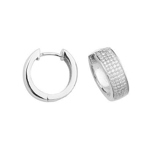 .925 Sterling Silver Rhodium Plated 17.4mm(D)x6.07mm(W) Micro Pave CZ Huggie Style Hoop Earrings