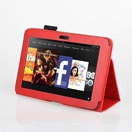 【wisersオリジナル】 Amazon Kindle Fire HD 7インチ 専用 スタンド ケース カバー RED 赤 レッド 全7色