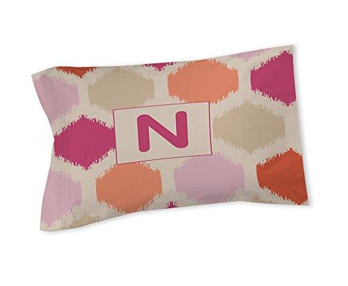 Thumbprintz Pillow Sham, Standard, Monogrammed Letter N, Pink Batik front-964259