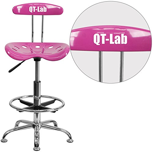 """Personalized Vibrant Candy Heart And Drafting Stool With Tractor Seat Pink/Chrome/20""""L x 17.25""""W x 41""""H"""