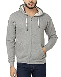 Weardo Men's Fleece Sweatshirt (WZipGreyHood_Grey_X-Large)