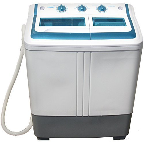 Mini Washing Machine (11 Lbs Capacity) Portable Compact Washer and Spin Dry Cycle with BUILT-IN PUMP From Manatee - Great for Apartments, Dorms, Condos, Rvs and Camping