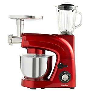 VonShef Stand Mixer with Grinder and Blender, 5.5 Litre, 1200 Watt, Red