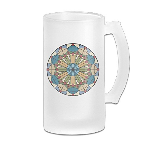 Stained Glass Clip Art Mosaic Handle Frosted Glass Beer Mug 16 OZ