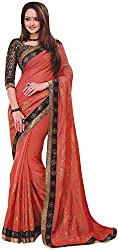 Ambica Lavnya Women's Chiffon And Marble Saree (Ambica Martina 3205_1, Red Colour)
