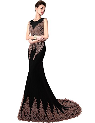 Favebridal Women's Long Formal Mermaid Gold Lace Evening Prom Dresses XU028